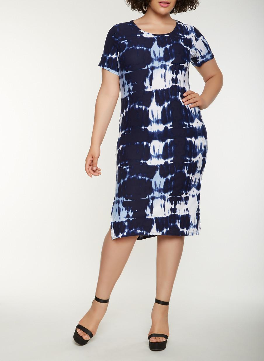 Plus size tie dye t shirt dress blue size x products pinterest