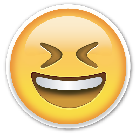 smiling face with open mouth and tightly closed eyes