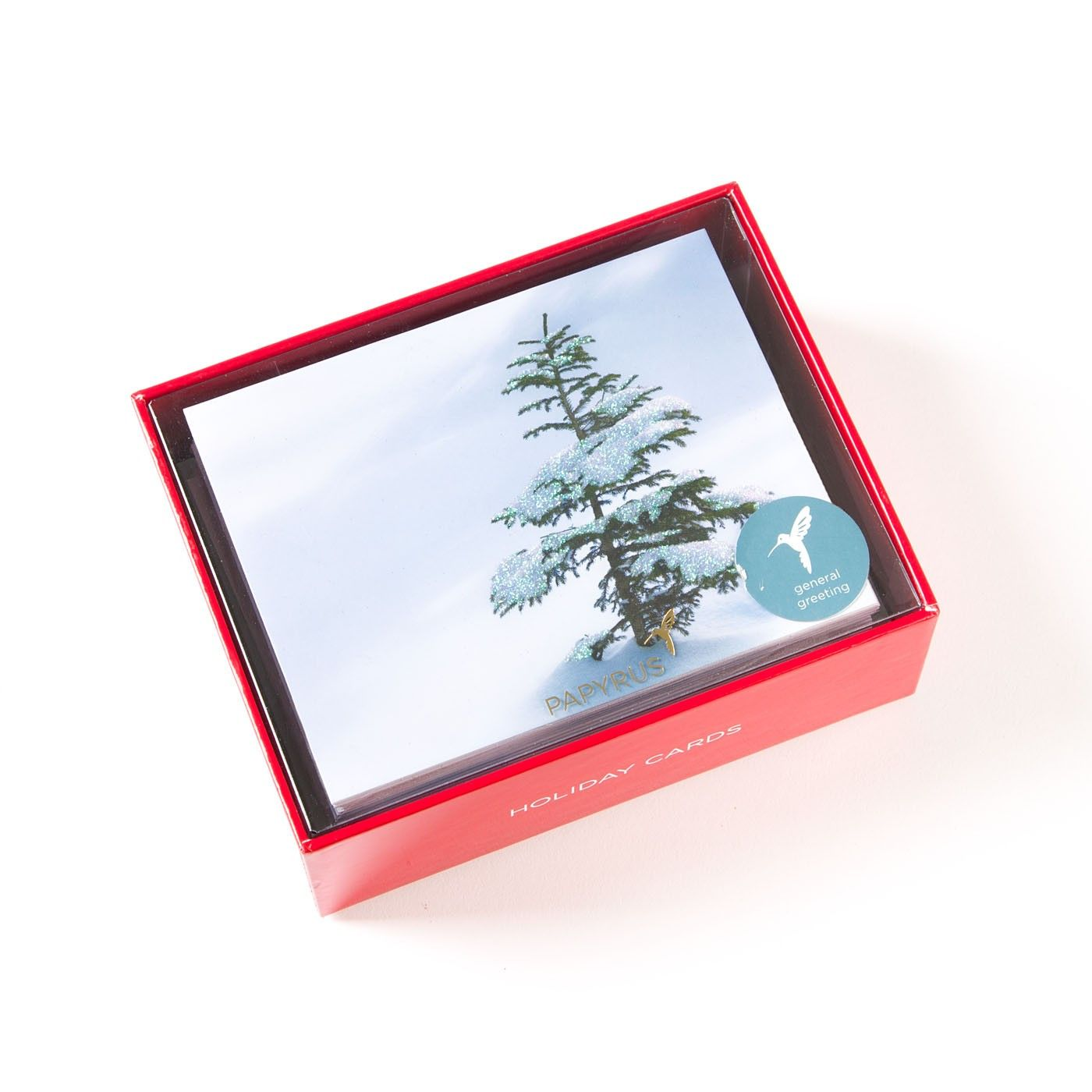 tree with glitter boxed holiday cards set of 20 - Boxed Holiday Cards