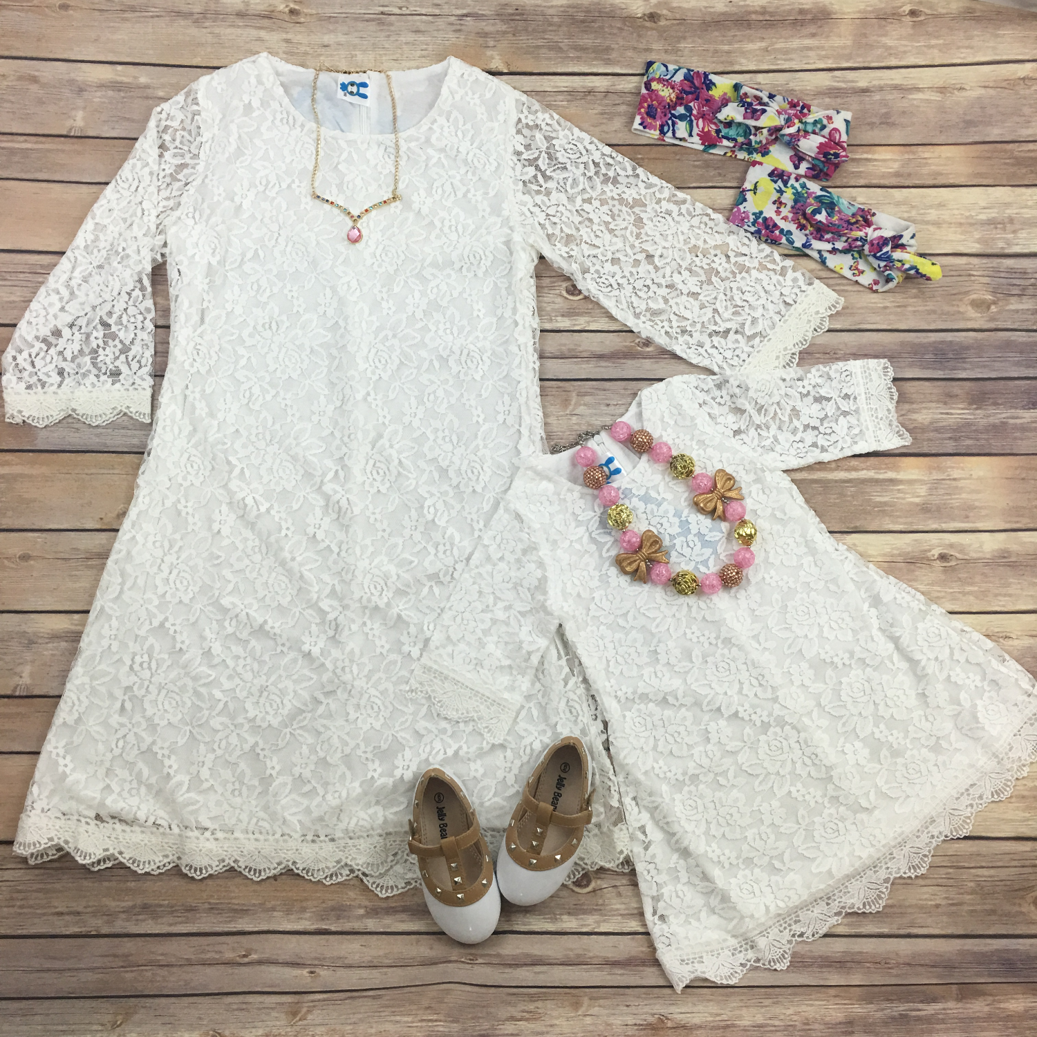 Charlene lace dress in white mommy & me Baby Z