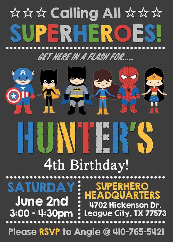 Mixed Boy Girl Superhero Supergirl Birthday Invitation Etsy Superhero Birthday Party Invitations Supergirl Birthday Superhero Invitations