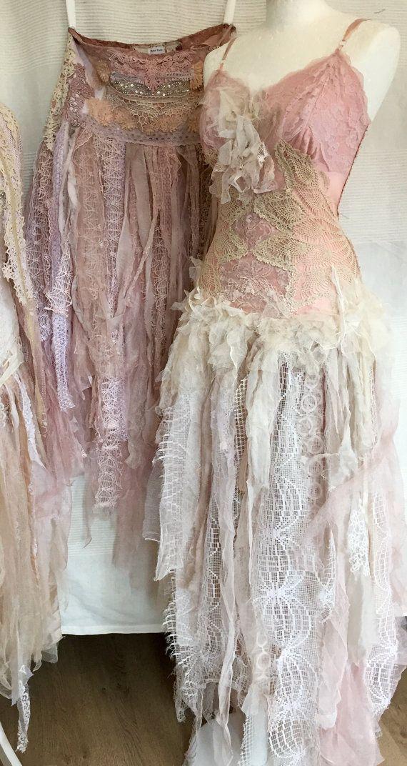 Boho Wedding Dress With Pink Satin Wedding Dress By Rawragsbypk