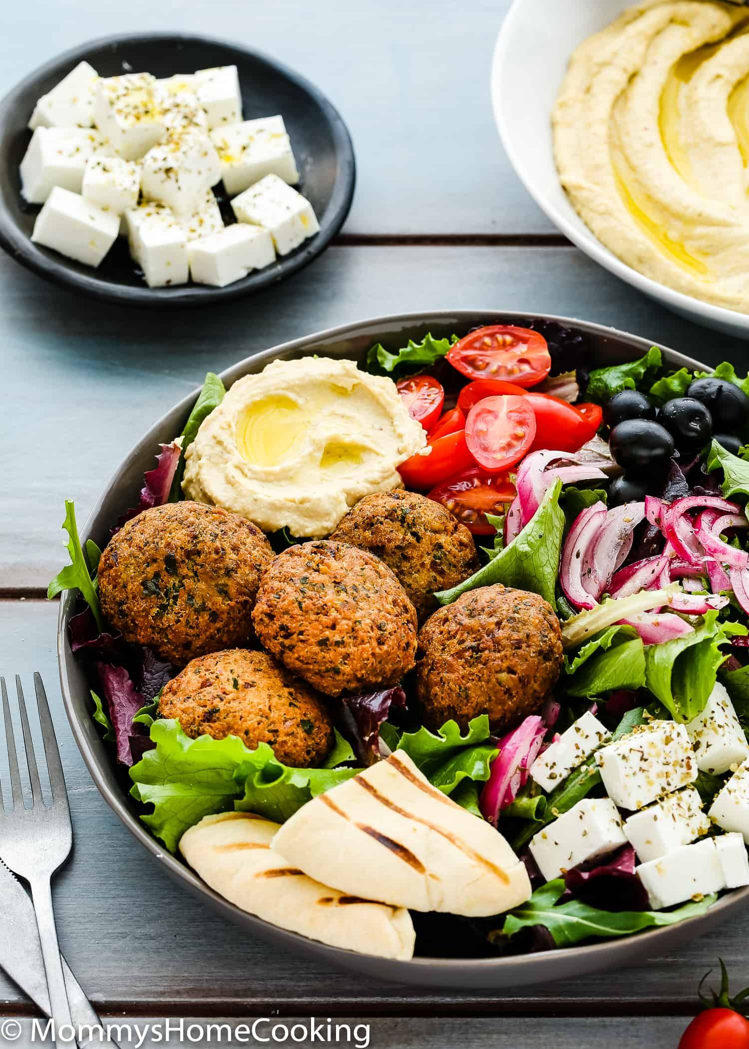 Photo of Falafel Salad Bowls with Mustard Hummus