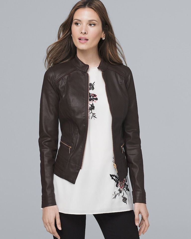 6c15b9b67dc Women's Coated Moto Jacket by White House Black Market | Products in ...