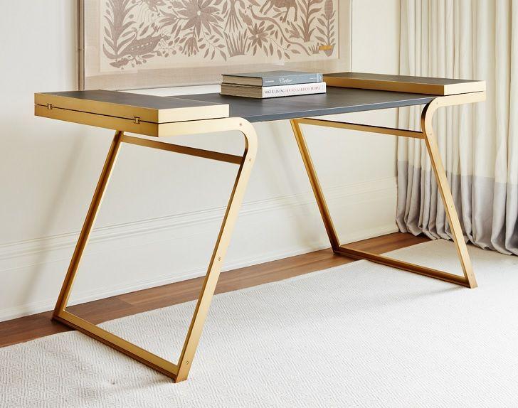 Plum Design Bryson Desk Leather And Brass Mobilier De Salon
