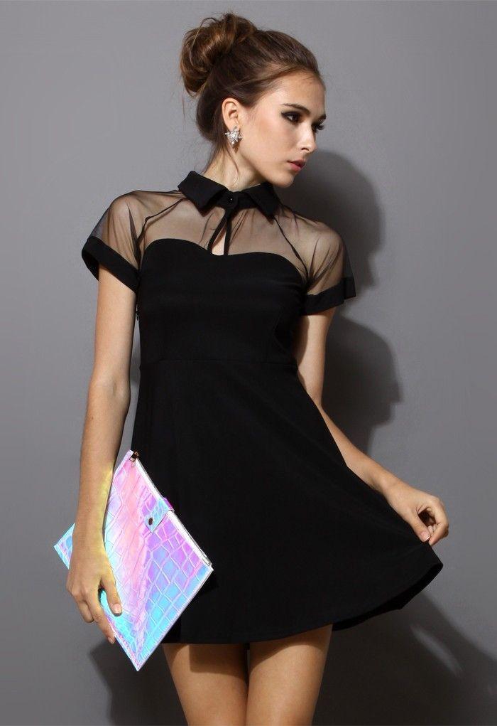 Black Short Sleeve Mesh Peak Collar Skater Dress