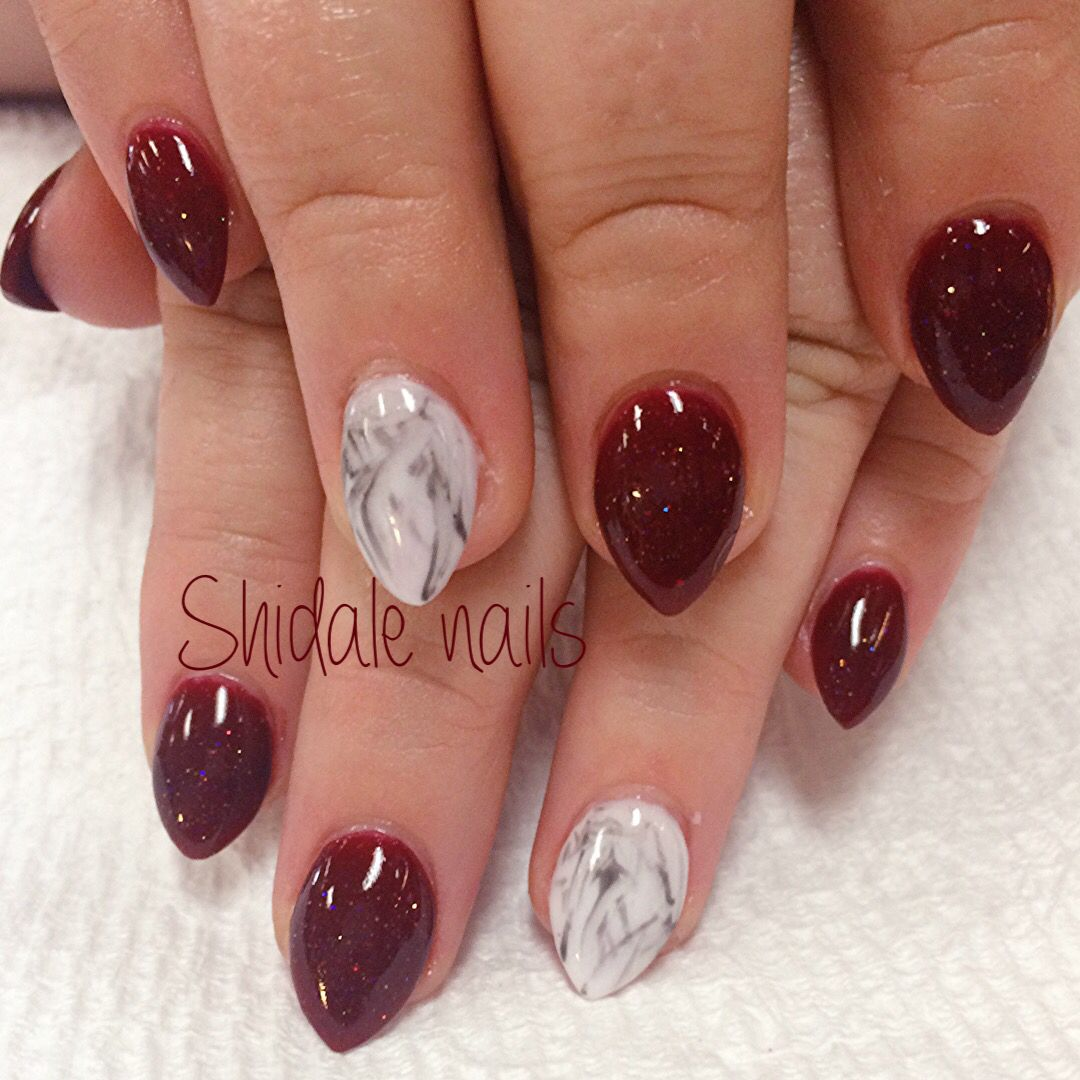 Acrylic almonds. Maroon and marble nails. Sweet, simple, shorties ...