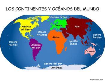 Spanish world map 7 continentes 5 ocanos continente ocano y spanish world map 7 continentes 5 ocanos gumiabroncs Choice Image