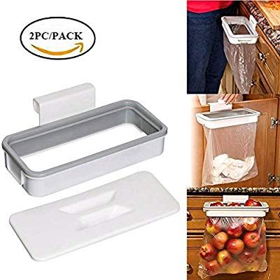 amazon com easyinsmile 2pcs pack plastic trash rack portable rh pinterest com Slide Out Trash Bag Holder Canada Cabinet Door Trash Bag Holder