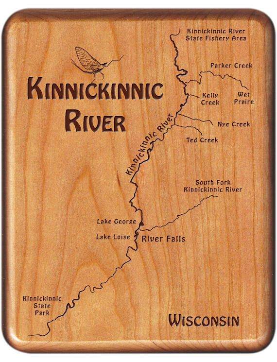 Kinnickinnic River Map Fly Box - Handcrafted, Custom Designed, Laser