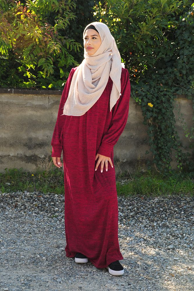 Abaya Casual Meliert bordeaux | Modestil, Islamische ...