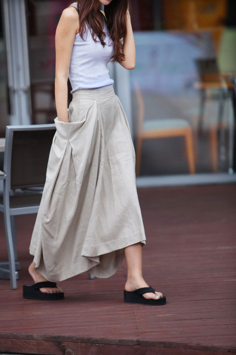 Lagenlook Maxi Skirt Big Pockets Big Sweep Long Skirt in Cream-colored Summer…