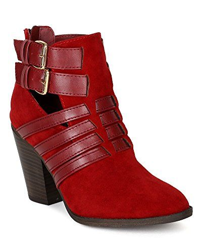 Breckelles BF29 Women Mix Media Strappy Almond Toe Cut Out Cigar Heel Ankle Bootie - Red (Size: 8.0) Breckelles http://www.amazon.com/dp/B00O0ESP5E/ref=cm_sw_r_pi_dp_xxaOub02WMN2D