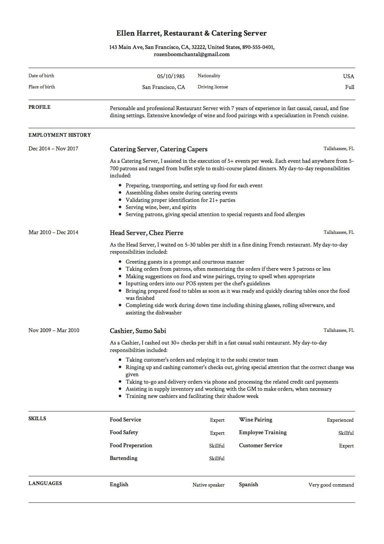 Resume Example for Server Excellent 12 Restaurant Server