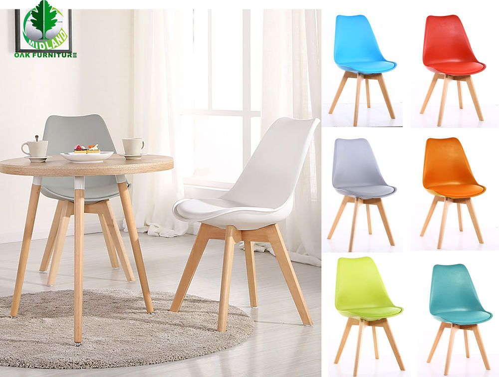 Tulip 1 2 4 6 Design Wooden Dining Chairs Office Chairs Retro Plastic Kitchen