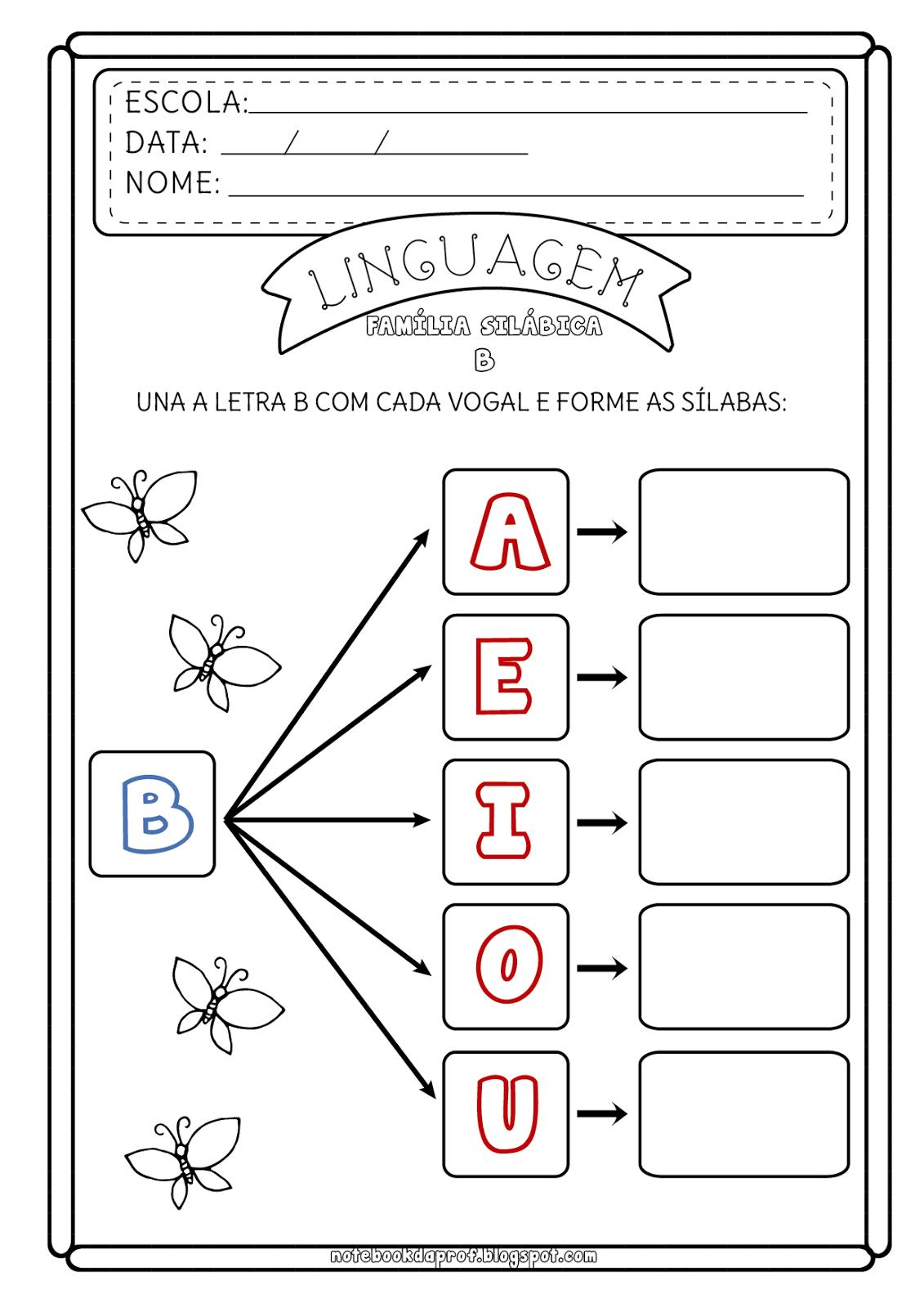 Atividade Família Silábica do B - Consciência Fonológica ...