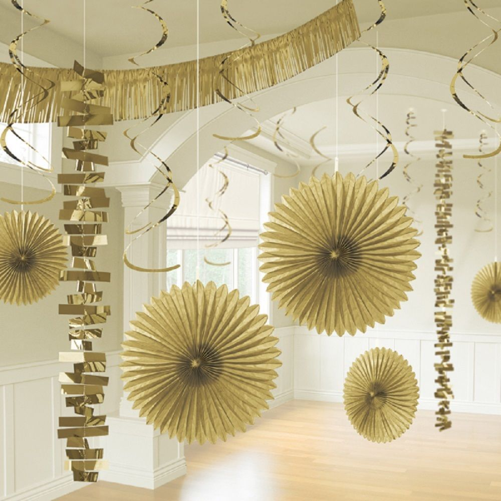 18 x Gold Hanging Paper Party Decorations Golden Party Room ...