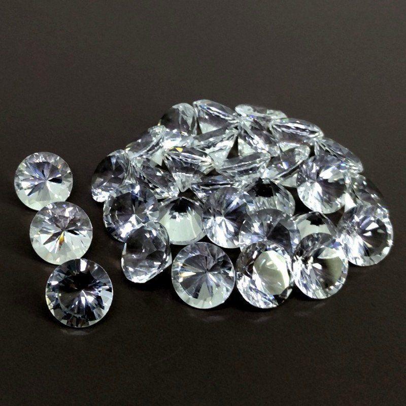 Natural Crystal Quartz Concave Cut Round Calibrated Size Loose Gemstone