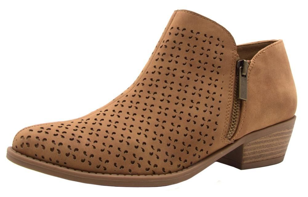 Women's Perforated Geometric Cutout Chunky Stacked Heel Ankle Bootie