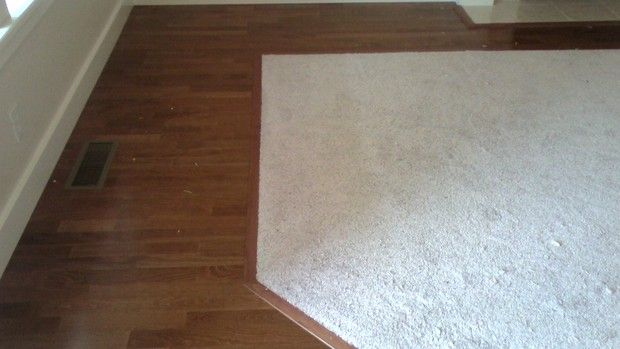 Hardwood Floor With Carpet Inlay