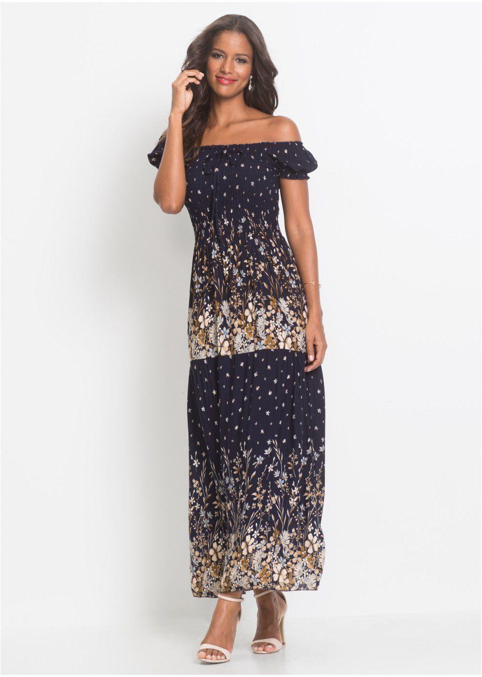 carmen-kleid mit elastischem einsatz blau geblümt - damen
