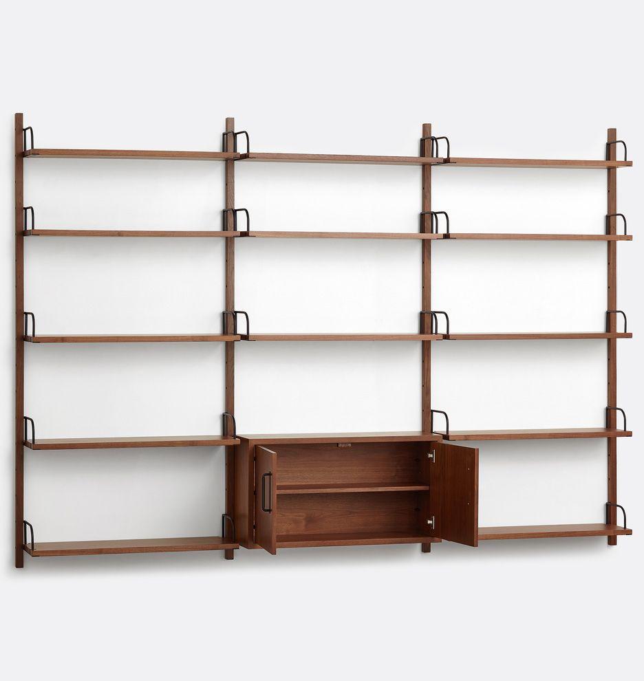 Hart Modular Walnut Triple Shelving Unit With Cabinet Rejuvenation In 2020 Shelving Unit The Unit Shelving