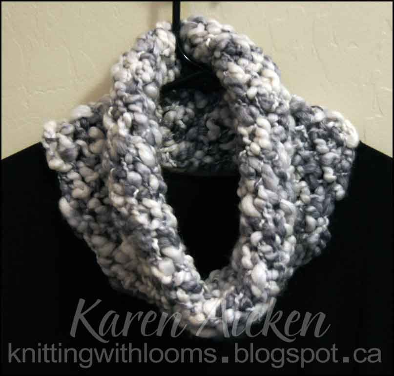 Knitting With Looms A soft cowl made with a yarn skein that varies ...