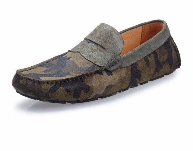 3072b99d0110c Genuine Leather and Suede Camo Driving Shoes | Products | Shoes ...