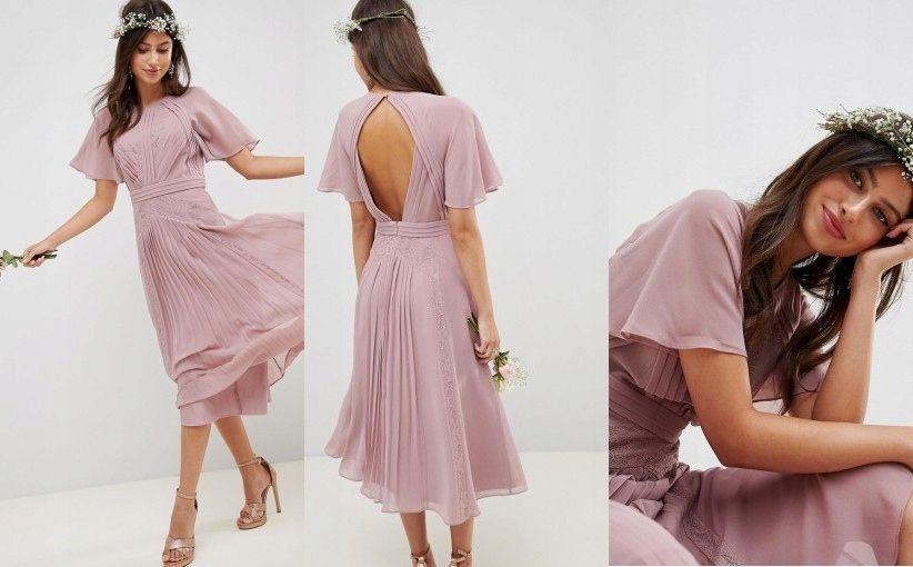 H8r109 Sukienka Midi Wesele Szyfonowa 46 3xl I01 7661674317 Oficjalne Archiwum Allegro Dresses Fashion Shoulder Dress