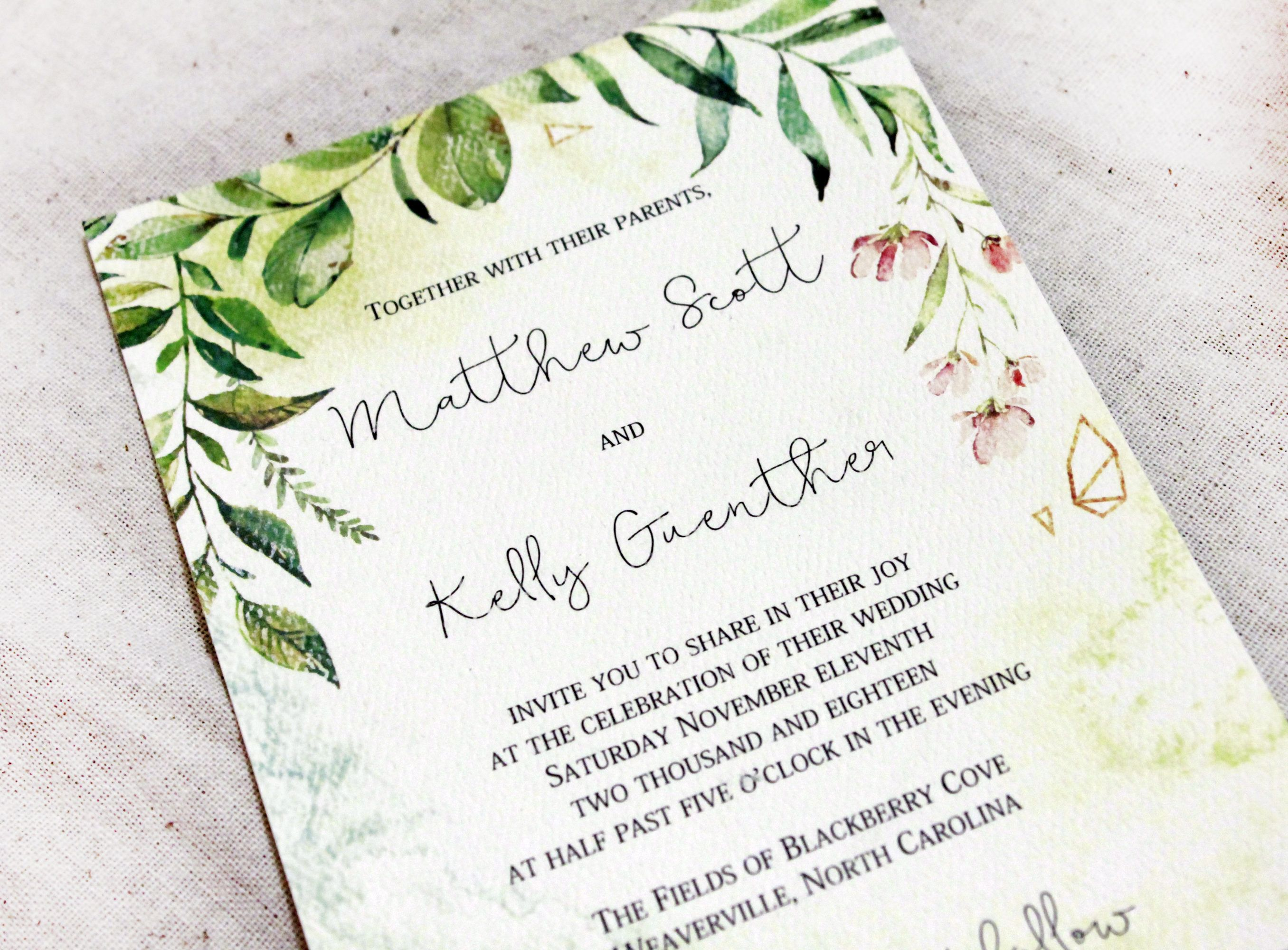 Wedding Invitations Watercolor wedding invitations handmade