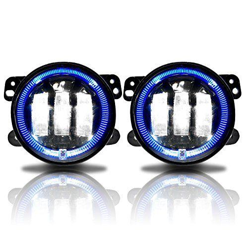 Genssi 4 Inch Led Halo Fog Lamp Lights For Jeep Wrangler Jk Dodge