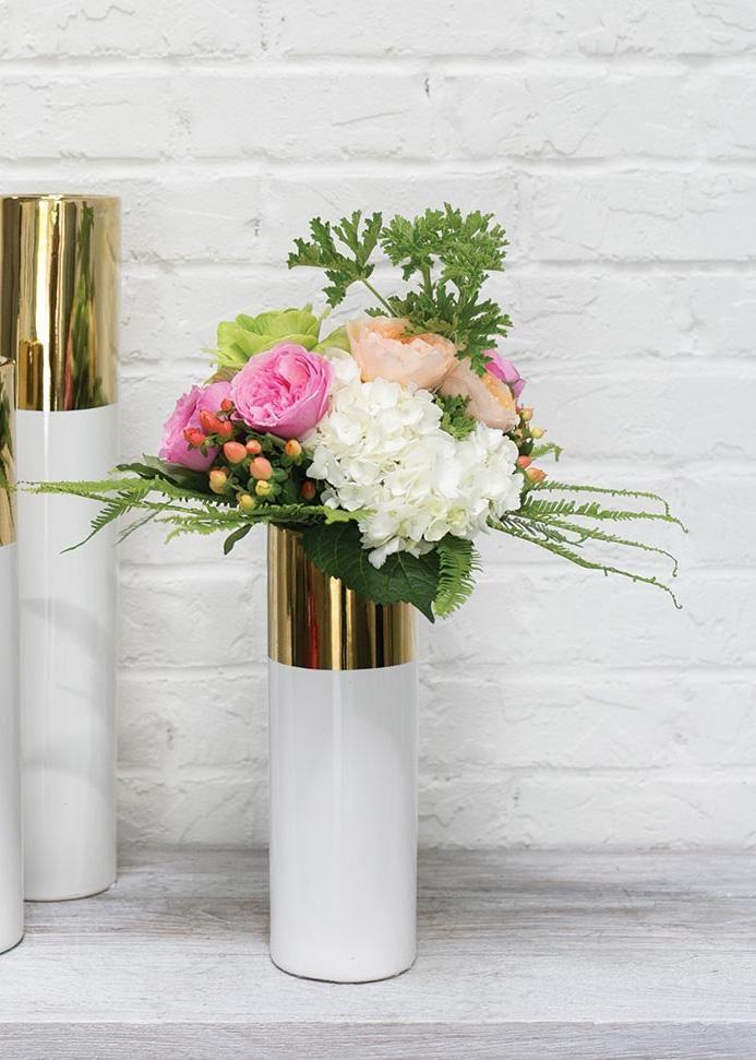 Klein Ceramic Cylinder Floral Vase In White And Metallic Gold 4 X 12 Wedding Floral Centerpieces Floral Vase Flower Centerpieces Wedding