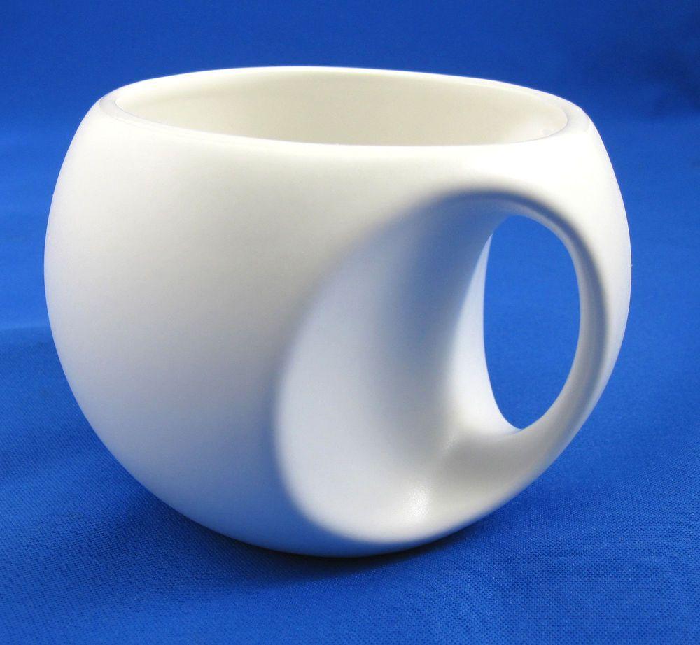 Ergonomic Coffee Mug Mid Century Modern Round W Built In Handle White Stoneware Midcenturymodern