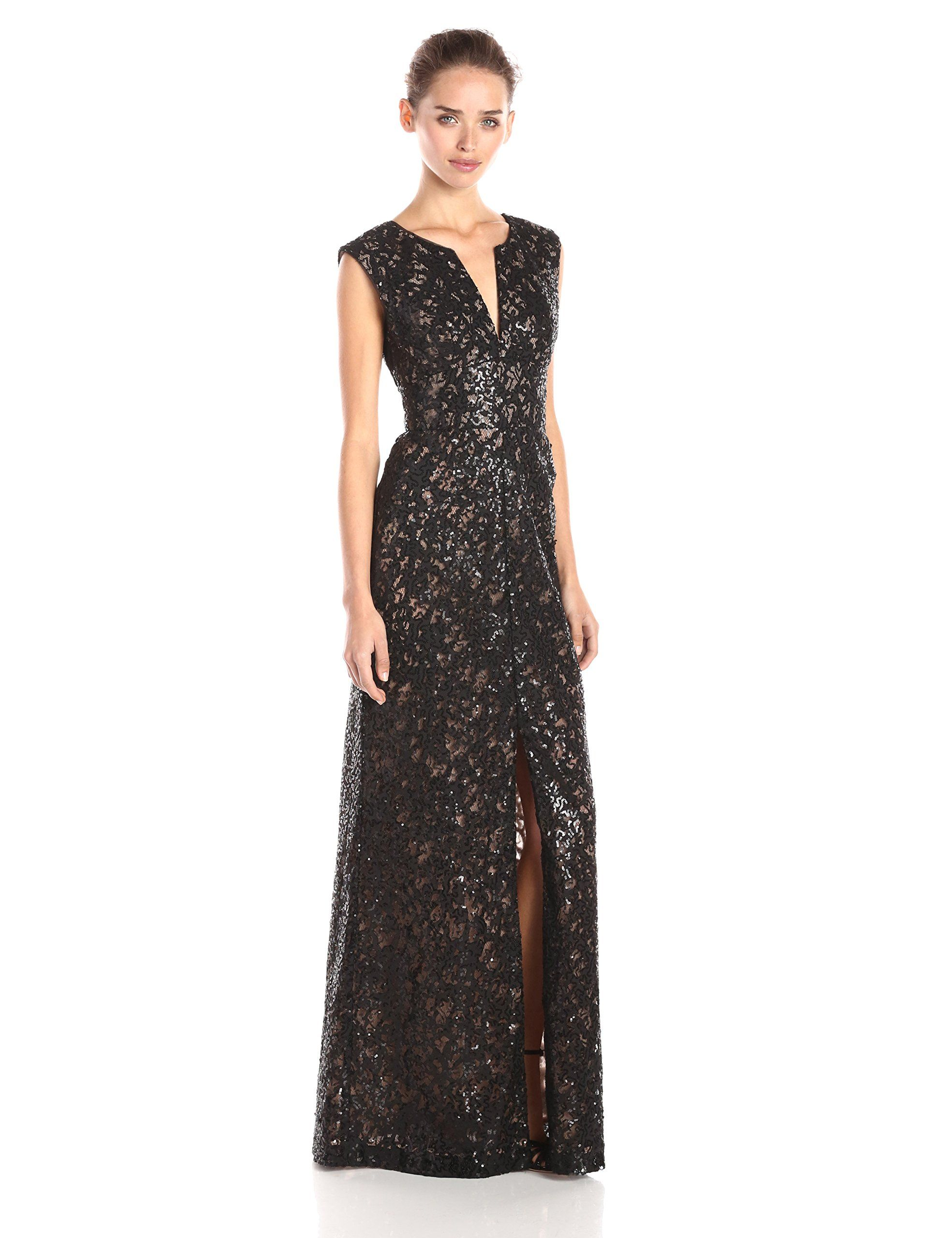Bcbgmax azria womenus cain applique sequined long gown black
