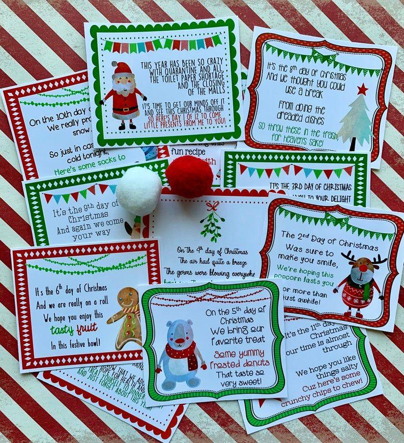NEW 2020 12 Days of Christmas Printable Tags Secret Santa