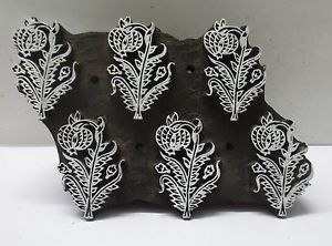 INDIAN-WOODEN-HAND-CARVED-TEXTILE-PRINTING-ON-FABRIC-BLOCK-STAMP-FINE-FLORAL