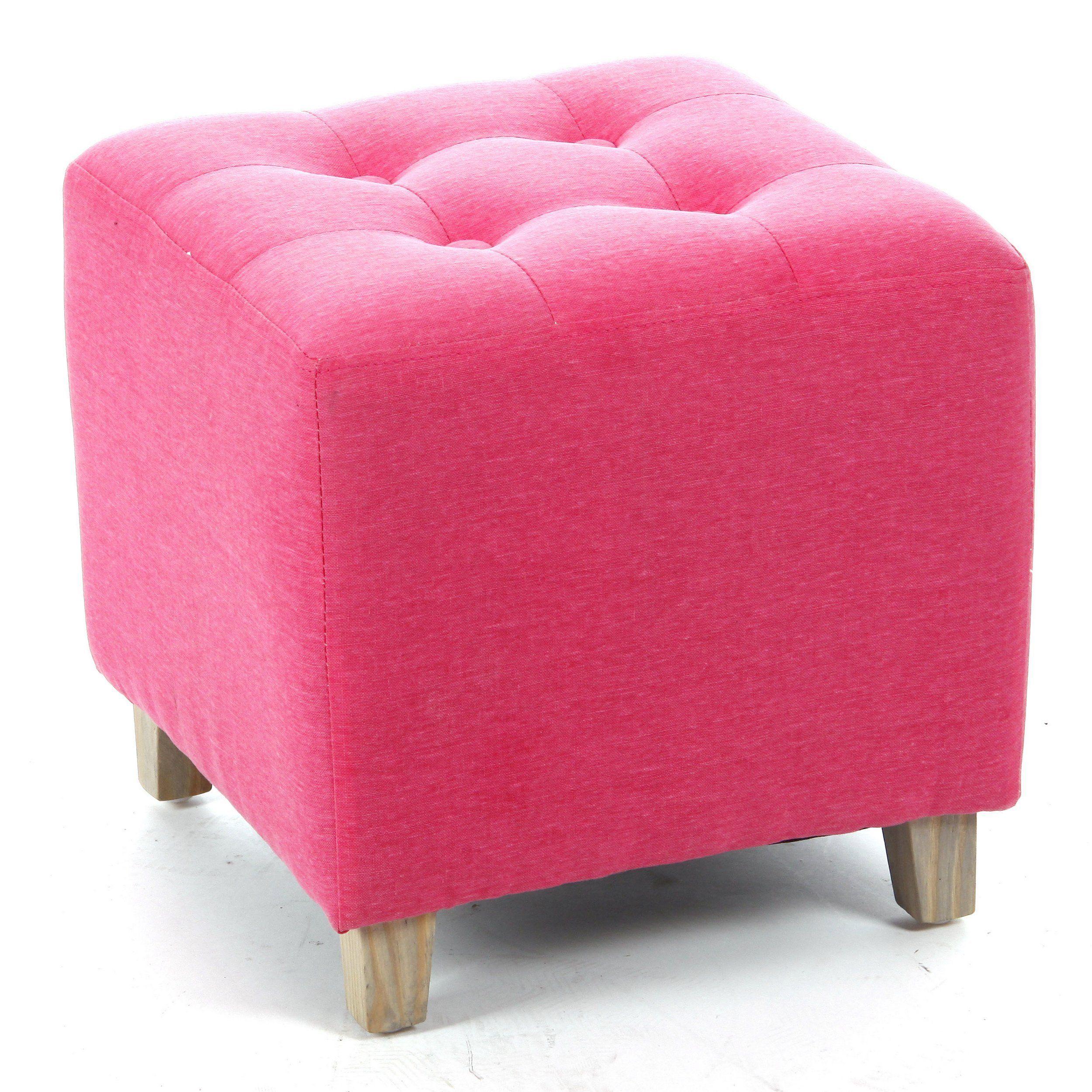 taburete puff cuadrado lino y algodn color rosa amazones hogar
