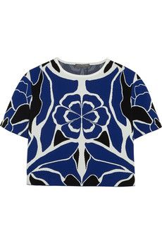 Alexander McQueen Cropped floral stretch-jacquard top | NET-A-PORTER