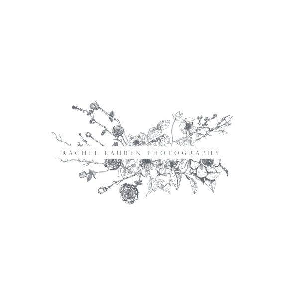 À la main dessiné esquissée botanique fleur Logo - Logo photographie et conception filigrane - photographie ou le Logo de la Boutique - entreprise Branding