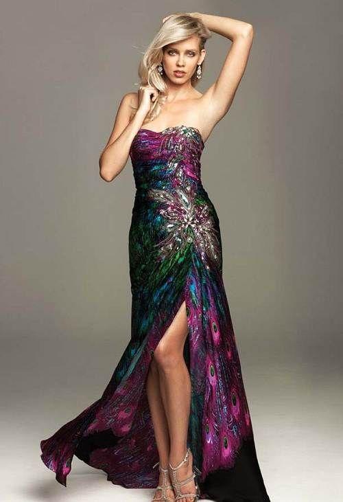 Peacock Print Formal Dress