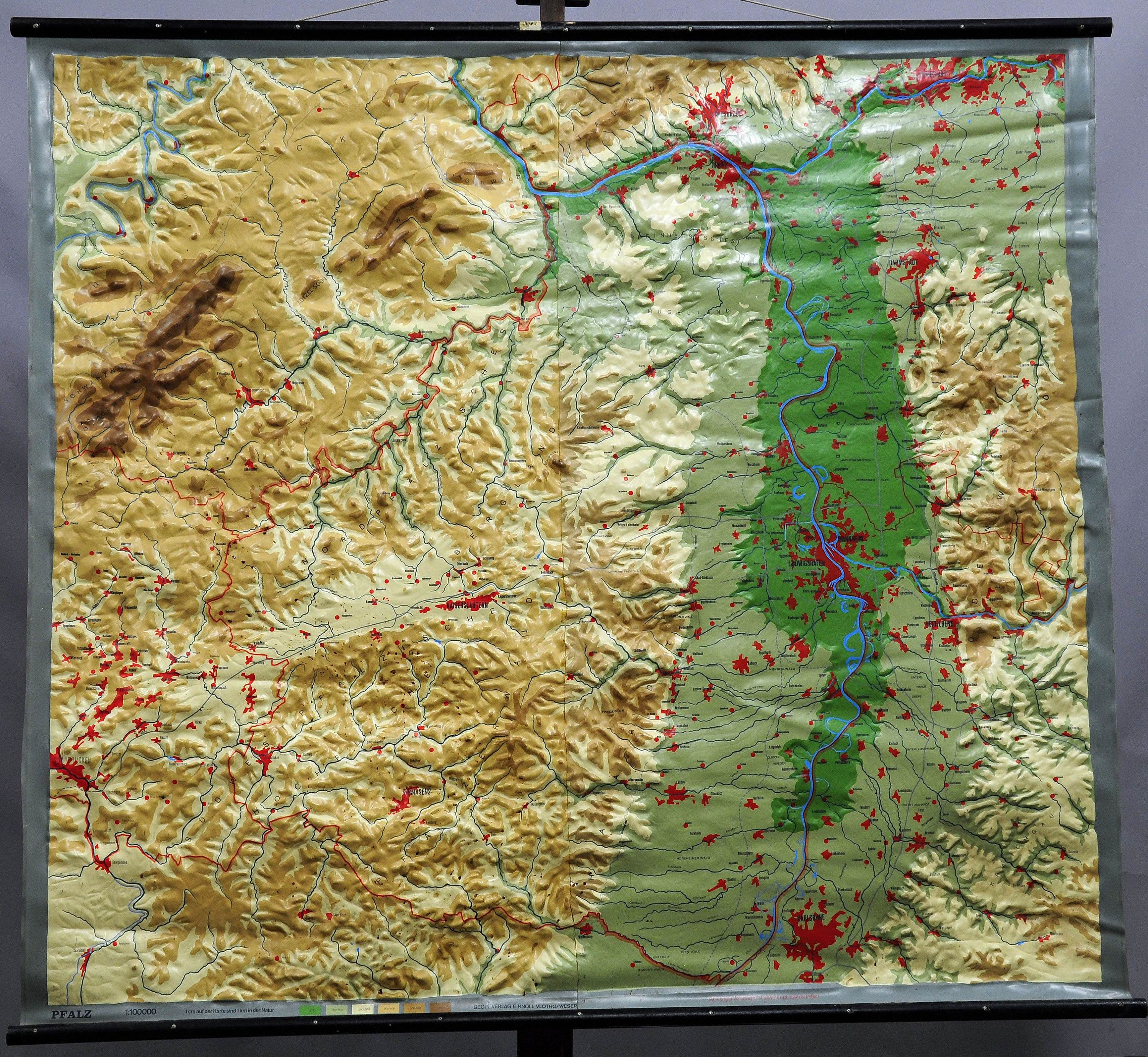 relief map Palatinate vintage art rollable poster wall chart ...