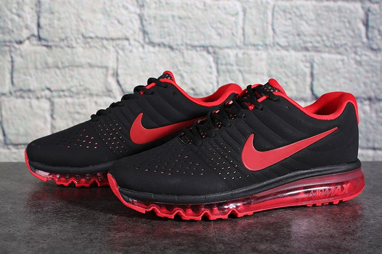 Nike Air Max 2017 Leather Men's Running Shoe Black Red