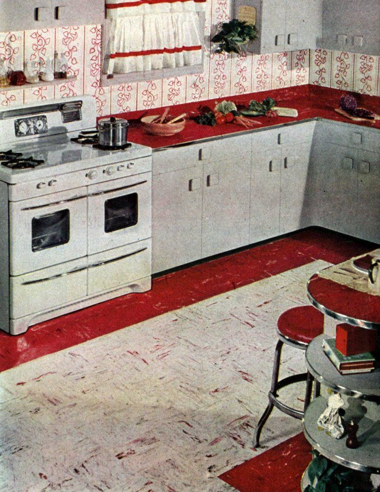 15 Fabulous Examples Of Fun And Fashionable Flooring From The Fifties Vintage Retro 50s 1950s Fifties Kitchen Flooring Retro Kitchen Kitchen Floor Tile