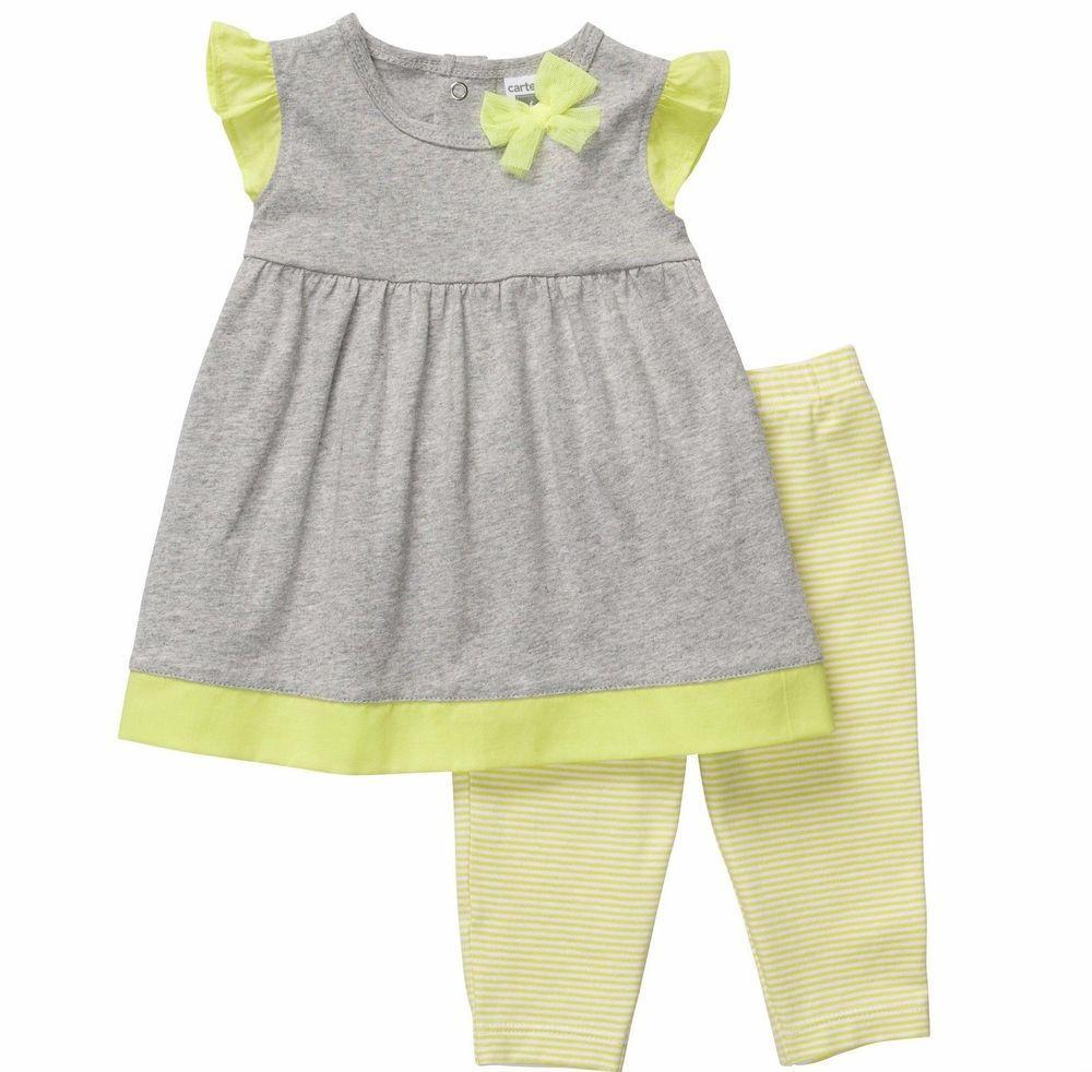 Carter's Girls 3M 18M 2-Piece Lime Green & Grey Legging Set NWT #Carters #DressyEveryday