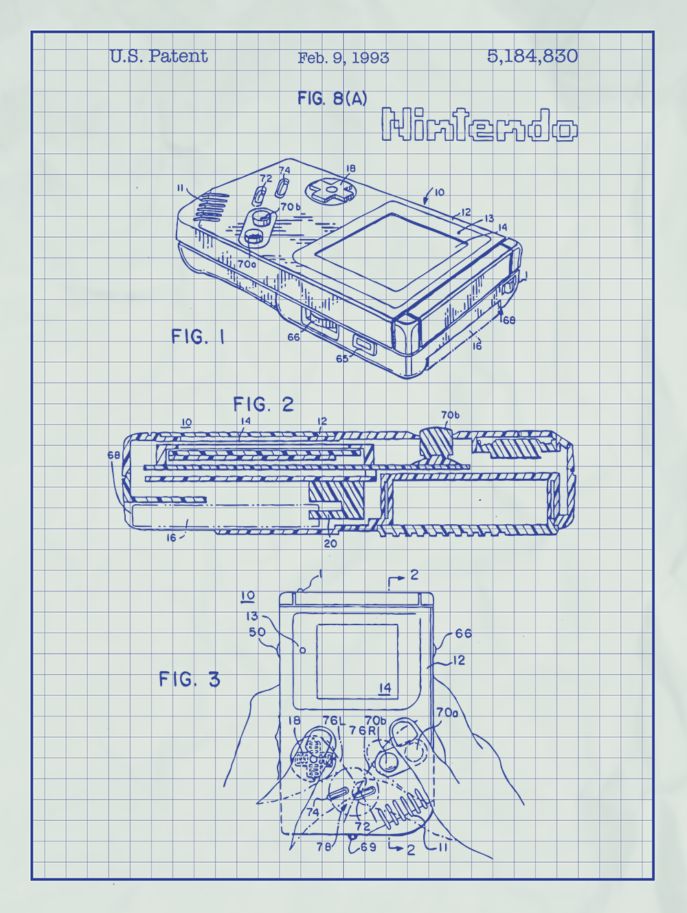 Nintendo game boy screen print handheld video game gameboy patent nintendo gameboy patent print on white graph paper background malvernweather Choice Image