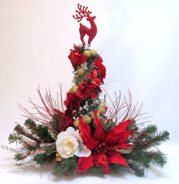 Red poinsettia christmas decor centerpiece