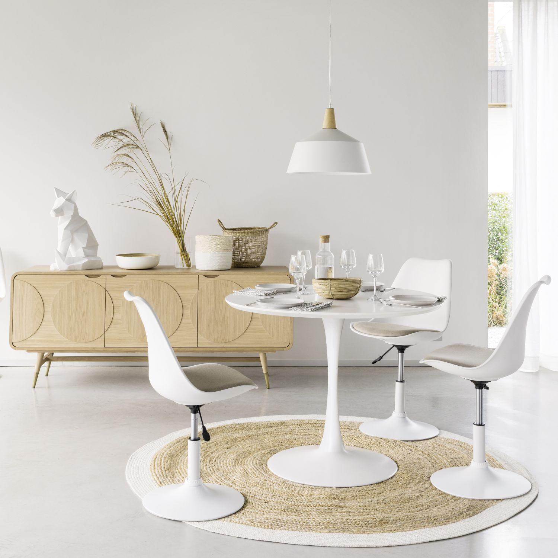 Tavolo rotondo bianco per sala da pranzo L.100 cm Mesas