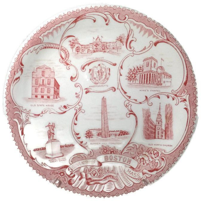 Vintage Boston Massachusetts Plate - State Souvenir, Ceramic Wall Decor, Red Transferware, English Staffordshire, Wood & Sons, Rare