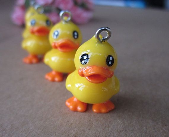 4 pcs 25x16mm  Lovely Resin Mr Funny duck Pendant by hellodiy99, $4.99