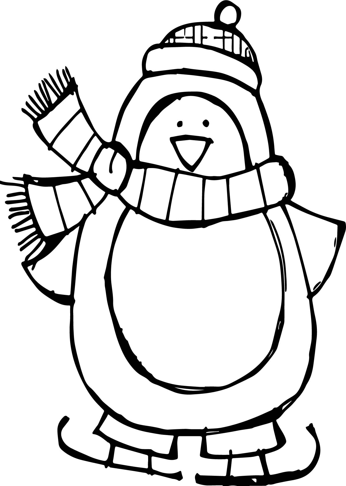 Penguin Colouring Page Use As Basis For Scrunched Tissue Paper